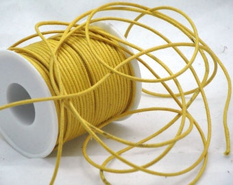 Yellow waxed cotton cord 2 mm