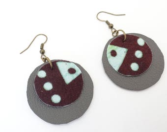 Gray and brown leather earrings