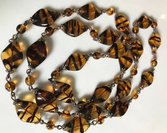 vintage 1930s Striped Glass Beads
