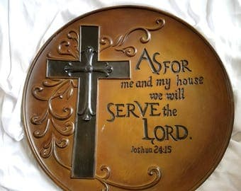 As For Me And My House....Joshua 24:15 Decor/Display Plate.  Serve The Lord. Cross Plate.