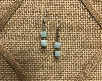 Handmade light mint green earrings