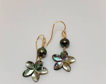 Plumeria Mother of Pearl Earrings Dangled with Pearls