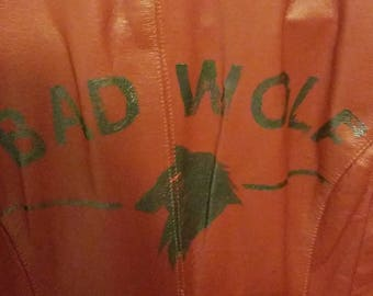Dr. WHO Bad Wolf Fan Art Red Rose leather jacket