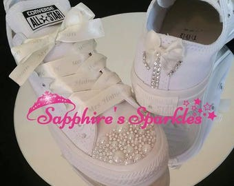 Ivory Pearl Wedding Shoes Personalised Ribbon Crystal Silver White Mono Bride Converse