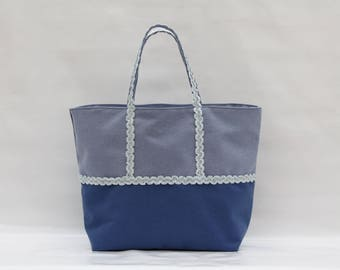 The bi-color blue cotton tote and Navy Blue with light blue wave sequins