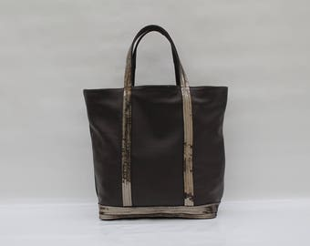 New Semi soft leather bag dark brown with green sequins