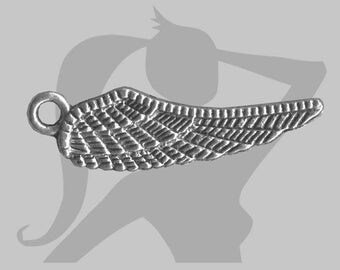 2 x 21mm silver plated angel wing charms