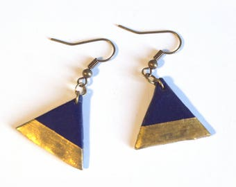 Earrings geometric • teal and gold Triangle