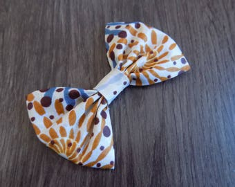 African print yellow/brown bow