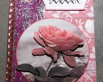 Card happy birthday MOM rose pink and gray 3D