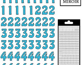 Sticker numbers - Turquoise mirror - STI13260TMSKY