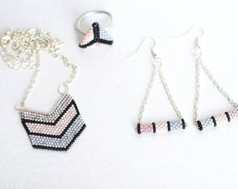 Set of necklace earrings ring rose pale grey and black peyote stitch with Miyuki beads