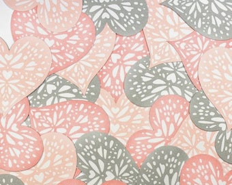 Embellishments - Die cuts hearts pink and gray - 4.3 x 4.2 cm - 24 pcs - Toga - new