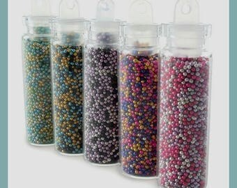 Micro bottles multicolored beads - 5 pcs of 4 cm in height.