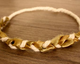 Gold and Cream Braided Headband