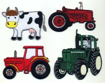 4 coats farm, tractor, cow, patch or sew Applique Patch