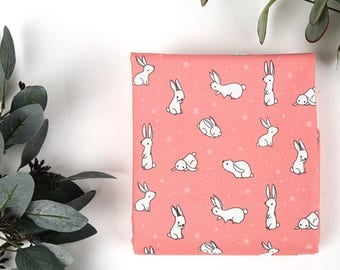 Pink rabbit 100% Cotton Fabric / BY HALF YARD / Animal / rabbits / bunny / digital printing / free shipping / children DTP2/150+