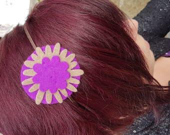 Felt purple flower headband