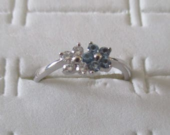 silver ring 925 with two flowers