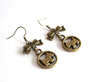 Bronze bow and dog earrings