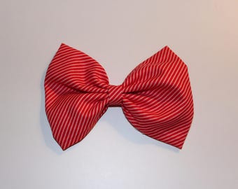 Pink and Red Striped Bow