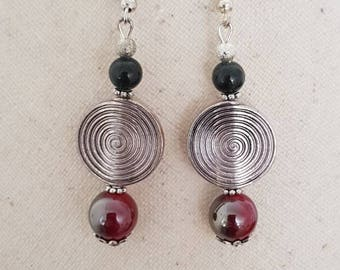 hook and bead earrings in silver, Burgundy Pearly bead, black jade bead and stardust bead