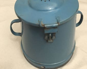 Vintage European Blue Enameled Pot With Hinged Lid