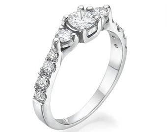 3 Diamonds Engagement Ring Made of 14K - 18K gold