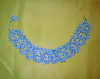 Crocheted blue lace necklace