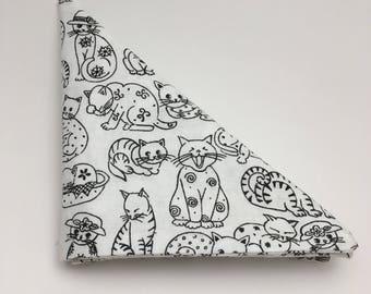 Black and White Cat Pattern Pocket Square