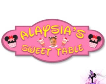 Customizable Pink Minnie Mouse Birthday Party Sweet Table | Dessert Table Hanging Sign | Freestanding Table Top Sign
