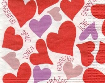 COCK 023 Valentine - Heart design 4 X 1 paper cocktail napkin