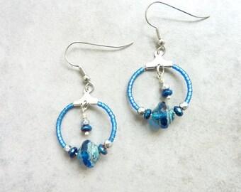 Small hoop earrings Boreal blue