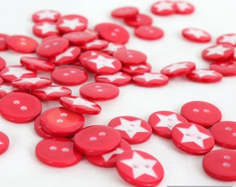 Set of 20 plastic round buttons Red Star 15 mm 2 hole pattern for sewing, scrapbooking