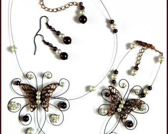 Butterfly chocolate Chloe bridal Ivory Pearl silver foil wedding set