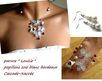 evening adornment white bordeaux Louisie arum Wedding Flower Butterfly silver Pearl Bridal