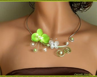 mariage necklace Orchid Hana green lime White aluminium silver Pearl wedding