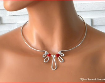 Margaux red rose bridal necklace Pearl silver foil wedding