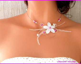 Flower Ines hot Silver White Pearl wedding bridal necklace
