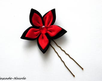 hair flower black and Red satin silver Pearl bridal wedding jewelry