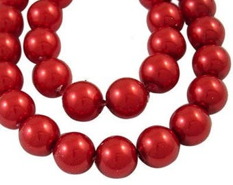 Set of 50 glass Pearl 8mm red renaissance beads