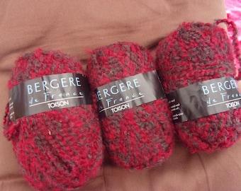 """Pelote de laine Bergère de France """"Toison"""" Apparat rouge/marron"""