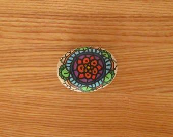 Colorful mandala painted roller