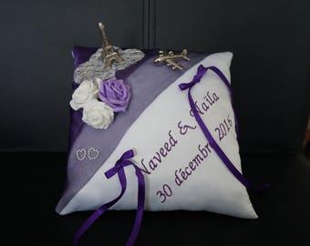 Purple travel theme cushion