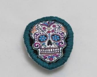 Sugar Skull Iron On Halloween Blue Patch