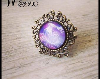 "Ring in bronze ""Namasté"" in purple tones"