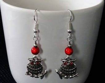 """Red OWL"" earrings 5 cm"