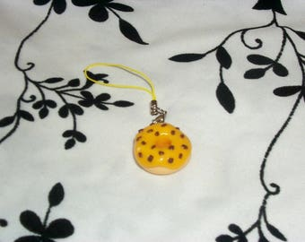 phone charm / strap donuts in polymer clay yellow glaze