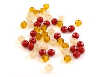 50 small abacus nude beige, amber, red 4x3mm faceted glass beads