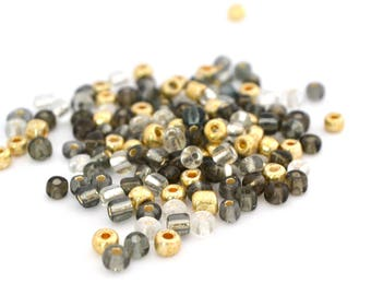 10 gr large 6/0 seed beads Gold 4mm glass grey / MPERRO034
